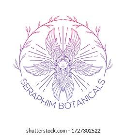 botanical seraphim, hand drawing logo