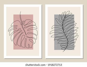 Botanical set of tropical leaf wall art vector one line. Abstract pattern of flowers and branches for collages, posters, covers, ideal for wall decoration. Vector.