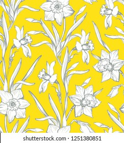 Botanical spring seamless pattern with silhouette of flowers daffodils, narcissus on light background. For floral design wallpaper, interior and home fabric, textile . Vector Illustration