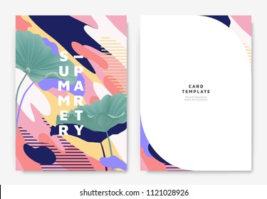 Botanical summer party invitation card template design, green lotus leaves with colorful abstract graphic shapes, pink,blue and yellow tones
