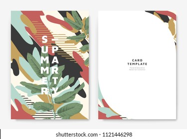 Botanical summer party invitation card template design, green leaves with colorful abstract graphic shapes, blue, red and yellow tones