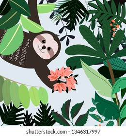 Botanical tropical green leave and sloth bear pattern,illustration vector by freehand doodle comic art,cute paper cut style,greenery garden concept for textile print background