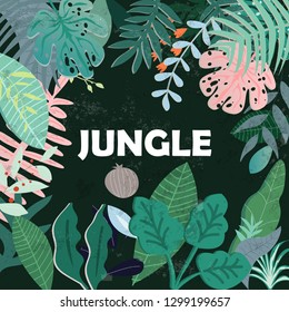 Botanical tropical leave and flowers in green jungle forest pattern,illustration vector by freehand doodle art,for banner or background