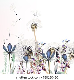 Botanical vector illustration with dandelions and lavender