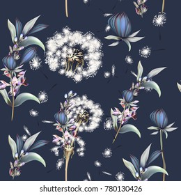 Botanical vector pattern with dandelions, flowers and lavender