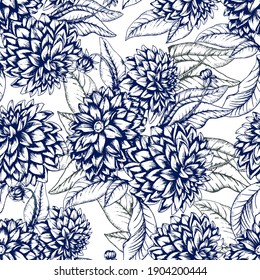 Botanical vector seamless pattern with dahlia flowers. All elements are isolated for easier editing. The pattern for ceramic tile, wallpapers, wrapping gifts, textile print. Vector illustration.