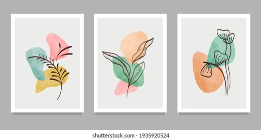 Botanical wall art on set. Abstract geometric elements, shapes and plant art for print, cover, wallpaper . Vector illustration