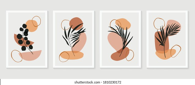 Botanical wall art vector set. Floral and Foliage line art drawing with abstract shape. Abstract Plant Art design for print, cover, wallpaper, Minimal and natural wall art. Vector illustration.