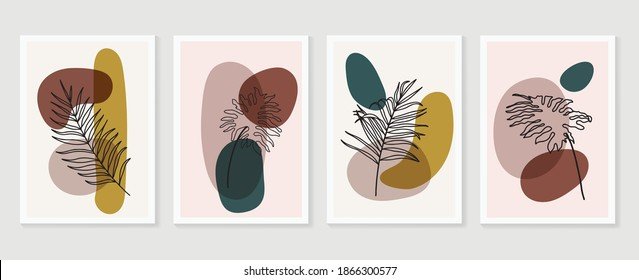 Botanical wall art vector set. Earth tone boho foliage line art drawing with  abstract shape.  Abstract Plant Art design for print, cover, wallpaper, Minimal and  natural wall art.