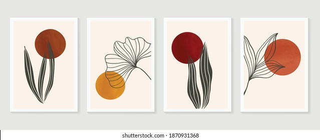 Botanical wall art vector set. Earth tone boho foliage line art drawing with abstract shape.  Ginkgo Plant Art design for print, cover, wallpaper, Minimal and  natural wall art.