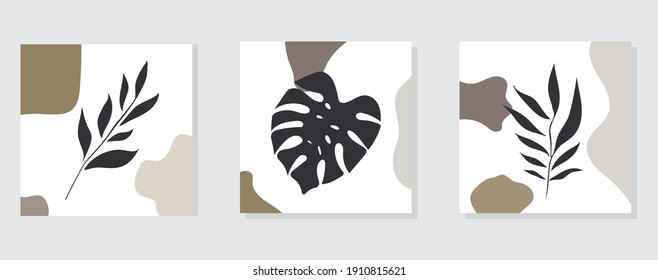 Botanical wall art vector set. Line drawing of tropical foliage. Abstract plant design Vector illustration.