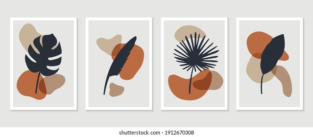 Botanical wall art vector set. Tropical Foliage line art drawing with abstract shape. Abstract Plant Art design for print, cover, wallpaper, Minimal and natural wall art. Vector illustration