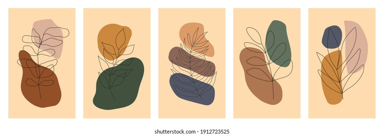 Botanical wall art vector set. Foliage line art drawing with abstract shape. Abstract Plant Art design for print, cover, wallpaper, Minimal and natural wall art. Vector stock illustration.