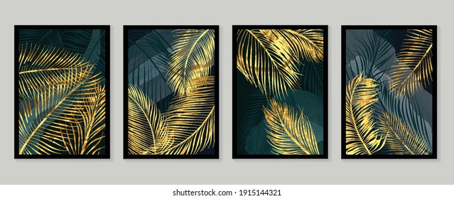 Botanical wall art vector set. Golden foliage line art drawing with  abstract shape.  Abstract Plant Art design for wall framed prints, canvas prints, poster, home decor, cover, wallpaper. - Shutterstock ID 1915144321