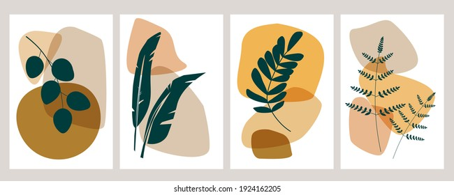 Botanical wall art vector set. Artistic drawing of the foliage line with an abstract shape of different colors. Plant art design for printing, cover art, wallpaper, minimalistic and natural art, cards