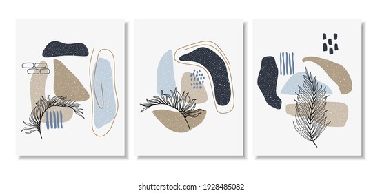 Botanical wall art vector set. Foliage line art drawing with abstract shape. Abstract Plant Art design for print, cover, wallpaper, Minimal and natural wall art. Vector illustration.