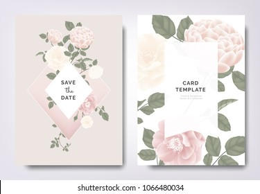 Botanical wedding invitation card template design, pink and white rose and leaves on pink frame, vintage style