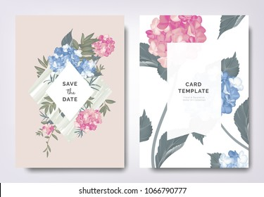 Botanical wedding invitation card template design, blue and pink hydrangea flowers and leaves on green frame, vintage style