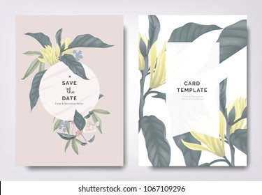 Botanical wedding invitation card template design, white Champaka and other leaves with white frame on brown background, vintage style