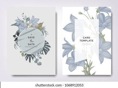 Botanical wedding invitation card template design, Platycodon or balloon flowers and leaves with circle frame on gray background, vintage style