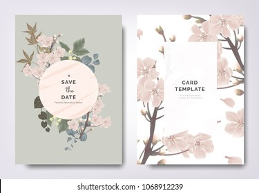 Botanical wedding invitation card template design, sakura flowers and leaves with circle frame on green background, vintage style