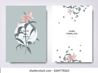 Botanical wedding invitation card template design, pink lily flowers and leaves with circle frame on blue background, minimalist vintage style