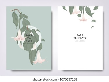 Botanical wedding invitation card template design, pink Brugmansia or Angels trumpet flowers and leaves with circle frame on green background, minimalist vintage style