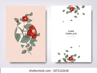 Botanical wedding invitation card template design, red Japanese camellia flowers and leaves with circle frame on orange background, minimalist vintage style