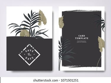 Botanical wedding invitation card template design, green leaves and black palm leaves with black grunge frame, minimalist vintage style