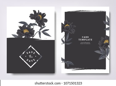 Botanical wedding invitation card template design, black paenia lactiflora flowers and leaves with black grunge frame, minimalist vintage style