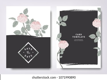 Botanical wedding invitation card template design, pink rose flowers and leaves with black grunge frame, minimalist vintage style