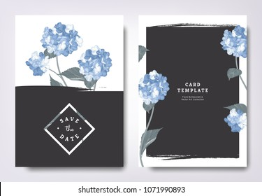 Botanical wedding invitation card template design, blue hydrangea flowers and leaves with black grunge frame, minimalist vintage style