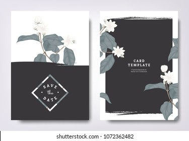 Botanical wedding invitation card template design, white jasmine flowers and leaves with black grunge frame, minimalist vintage style