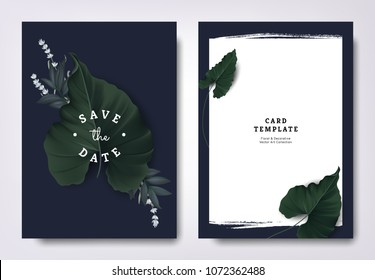 Botanical wedding invitation card template design, hearted shape leaves and lavender flowers on dark blue background, minimalist dark theme