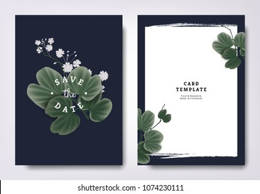 Botanical wedding invitation card template design, snowy orchid tree leaves with small white flowers on dark blue background, minimalist dark theme