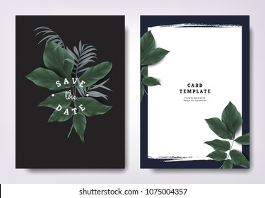 Botanical wedding invitation card template design, tropical green leaves on black background, minimalist dark theme