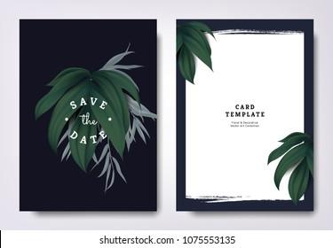 Botanical wedding invitation card template design, green leaves on dark blue background, minimalist dark theme
