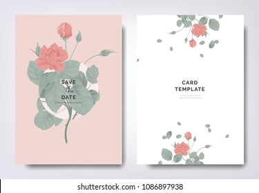 Botanical wedding invitation card template design, red rose flowers and leaves with circle frame on light red background, minimalist vintage style