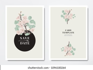 Botanical wedding invitation card template design, pink sakura flowers with Silver Dollar Eucalyptus leaves in circle frame on light yellow background, minimalist vintage style