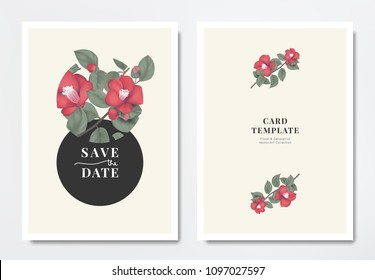 Botanical wedding invitation card template design, red Japanese camellia flowers with leaves in circle frame on light yellow background, minimalist vintage style