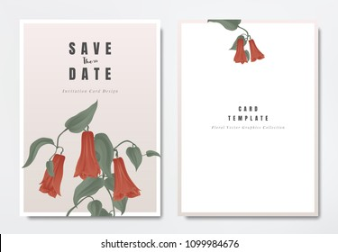 Botanical wedding invitation card template design, red Lapageria rosea flowers with leaves on light pink background, minimalist vintage style