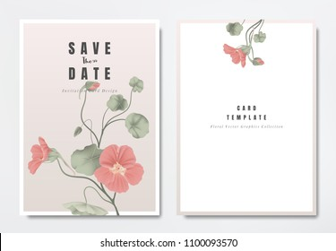 Botanical wedding invitation card template design, red Tropaeolum flowers with leaves on light pink background, minimalist vintage style