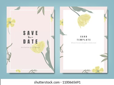 Botanical wedding invitation card template design, yellow tulip flowers and leaves on light red background, minimalist vintage style