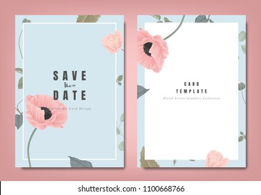 Botanical wedding invitation card template design, pink poppy flowers and leaves on blue background, minimalist vintage style