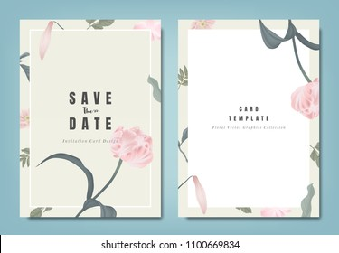 Botanical wedding invitation card template design, pink tulip flowers and leaves on light brown background, minimalist vintage style