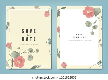 Botanical wedding invitation card template design, red Tropaeolum flowers and leaves on yellow background, minimalist vintage style