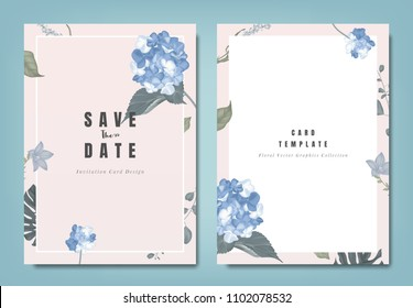 Botanical wedding invitation card template design, blue hydrangea flowers and leaves on light pink background, minimalist vintage style