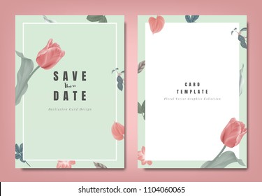 Botanical wedding invitation card template design, red tulip flowers and leaves on green background, minimalist vintage style