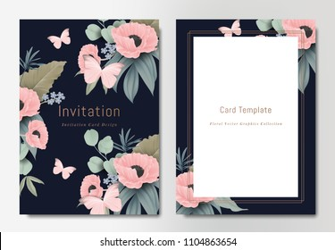 Botanical wedding invitation card template design, bouquets of pink poppy flowers with leaves and butterflies on dark blue background, vintage style