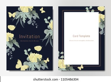 Botanical wedding invitation card template design, bouquets of yellow tulip flowers with leaves and butterflies on dark blue background, vintage style
